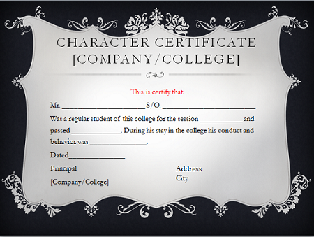 Character certificate format for Certificate of good moral character template
